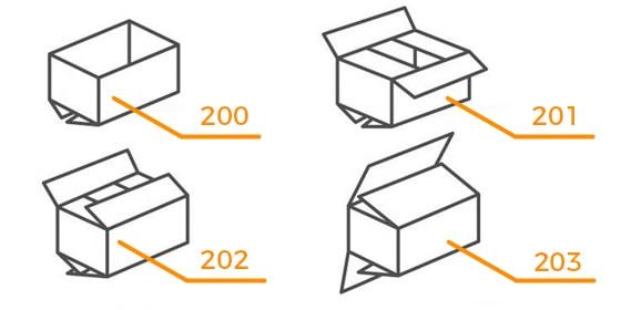4 przykładowe rodzaje opakowań kartonowych